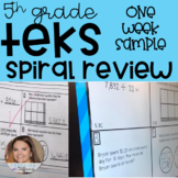 Daily Spiral Review Warm Up - 5th Grade TEKS (One Week Sample)