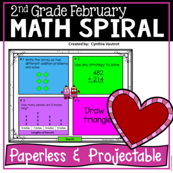 Daily Math Spiral for 2nd Grade - February