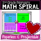 February Daily Math Spiral for 2nd grade (Common Core)
