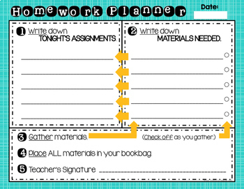 Daily Step by Step HOMEWORK PLANNER - ADHD & Executive Functioning Skills Issues