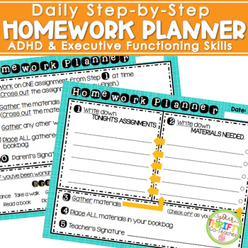 Daily Step by Step HOMEWORK PLANNER - ADHD & Executive Fun