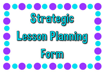 Daily Strategic Lesson Planning Form - Cute Turquoise & Purple Dots Secondary