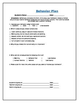 Daily Student Behavior Plan