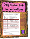 Daily Student Behavior Self Reflection Tracker Form Template