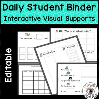 Editable Daily Student Binder with Interactive Visual Supports