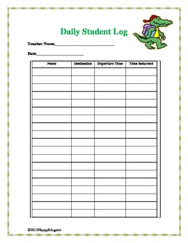 Free Download Classroom Management Student Log  for Back to School