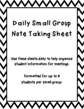 Daily Student Note Sheet