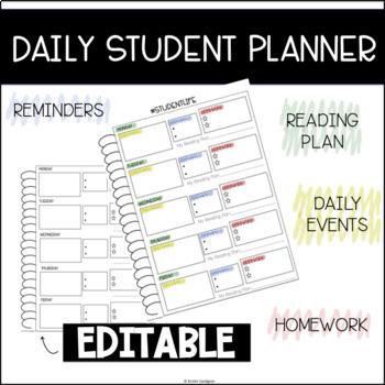 Daily Student Planner Agenda Editable!