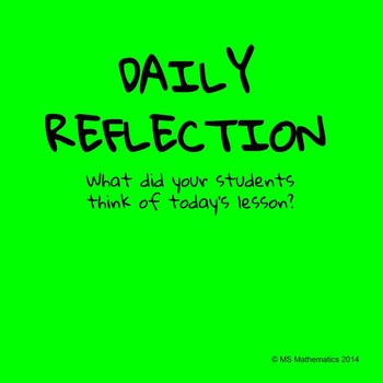 Daily Student Reflection