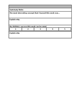 Daily Student Reflection/Evaluation Exit Sheet
