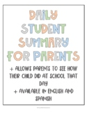Daily Student Summary for Parents