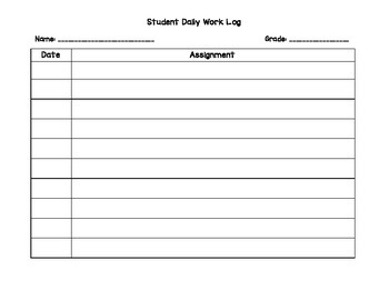 Daily Student Work Log