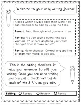 Daily Student Writing Journal- 180 Daily Writing Prompts Booklet for grades 3-5
