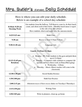 Daily Sub Plan- Editable