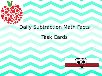 Daily Subtraction Task Card Facts
