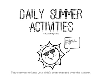 Daily Summer Activities for Future First Graders