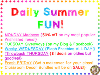 Daily Summer Fun Schedule