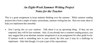 Daily Summer Writing: An Eight Week Project