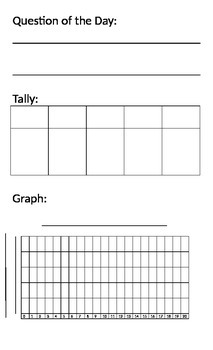 Daily Survey with Tally and Bar Graph French Version included