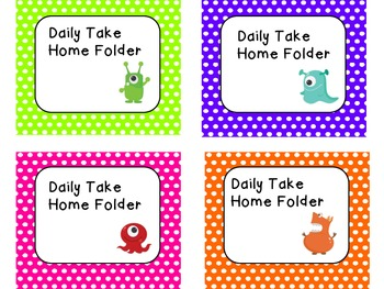 Daily Take Home Folder Labels