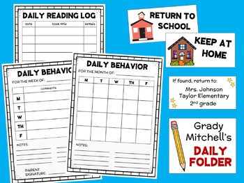 Daily Folder Labels and Forms Take-Home Folders BACK TO SCHOOL