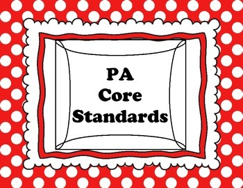 Daily Targets (I Can statements) and PA Core Standards polka dot pattern
