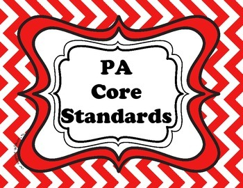 Daily Targets (I Can statements) and PA Core Standards chevron pattern
