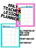 Daily Teacher Lesson Planner