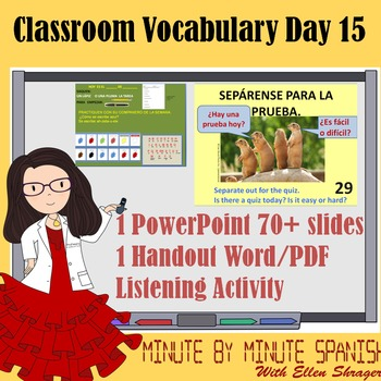 Spanish 1 Day 15 90% Target Language  - DTG Listen/Writing Assessment #, colors,