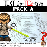 Daily Text-Evidence Passages and Questions (Pack A): Grades 3/4