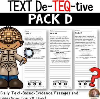Daily Text-Evidence Passages and Questions (Pack D): Grades 3/4