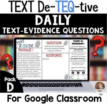 Daily Text-Evidence Questions for Use with Google Classroom (Pack D): Grades 3/4