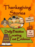 Daily Thanksgiving Passages - Comprehension Practice with Locating Text Evidence