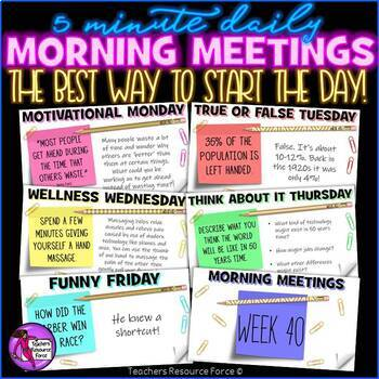 Back to School Daily Morning Meeting Digital Whiteboard PowerPoint (1 FULL YEAR)