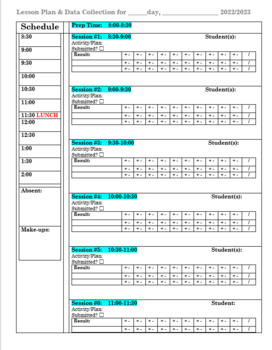 Daily Therapy Session Planning /Planner/Plan Book (Speech, PT, OT, Psych)