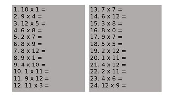 Daily Times Table Questions
