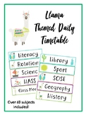 Daily Timetable Cards Llama Theme