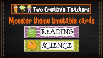 Daily Timetable Cards Monster Theme