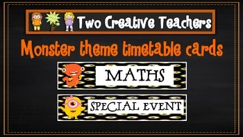 Daily Timetable Cards Monster Theme 2