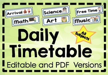 Daily Timetable Display Cards - Classroom Management - PDF and EDITABLE Versions