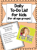 Daily To-Do List for Kids {Great for Covid Distance Learning}