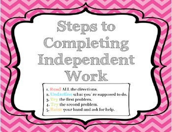 Free Download - Steps to Completing Independent Work--Desk Cards