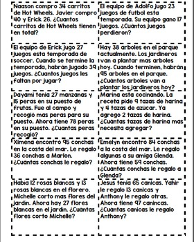 Two-digit Word problems in Spanish with Problem solving mat- Problemas razonados