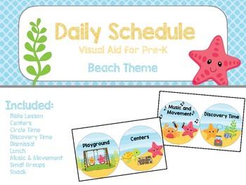 Daily Visual Schedule - Beach Theme