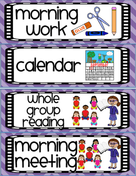 Daily Visual Schedule Cards for Elementary - Chevron