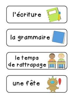 Daily Visual Timetable Schedule cards (Horaire du jour) Primary French