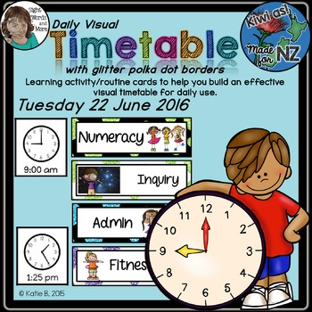 Daily Visual Timetable for NZ / AU Classrooms Glitter Theme