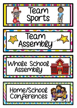 Daily Visual Timetable for NZ / AU Classrooms Bright Patterned Theme