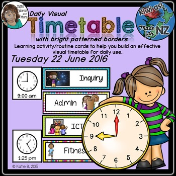 Daily Visual Timetable for NZ / AU Classrooms Bright Patte