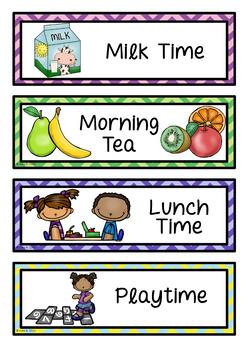 Daily Visual Timetable for NZ / AU Classrooms Chevron Theme EDITABLE